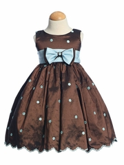 Brown/Blue Flower Girl Dress - Embroidered Polka-Dot Taffeta Dress