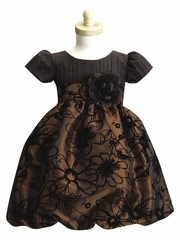 Brown Crushed Taffeta Bodice w/ Flocked Taffeta Skirt
