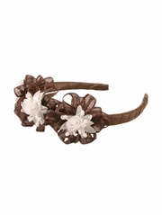 Brown Headband w/ Rosebuds