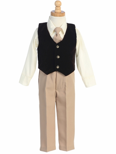 Brown/Khaki Velvet Vest w/Pants