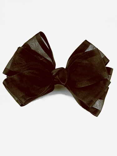 Brown Organza Bow Hair Clip