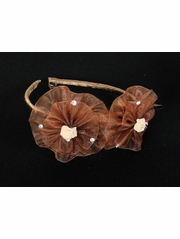 Brown Organza Flower Bow & Rhinestone Headband