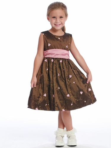 Brown / Pink Embroidered Taffeta - Felicity