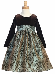 Brown/Silver Stretch Velvet Bodice w/Flocked Taffeta Skirt