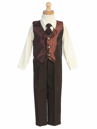 Brown Taffeta Vest & Pant Set