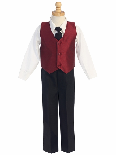 Burgundy Boys Poly Silk Vest & Black Pant Set