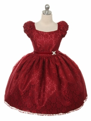 Burgundy Cap Sleeve Lace Flower Girl Dress