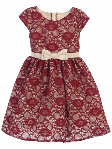 Burgundy Floral Lace w/ Champagne Satin Sash & Bow Dress