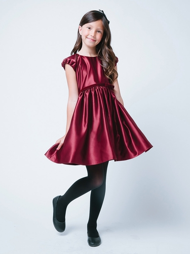 Burgundy Classic Satin Holiday Dress