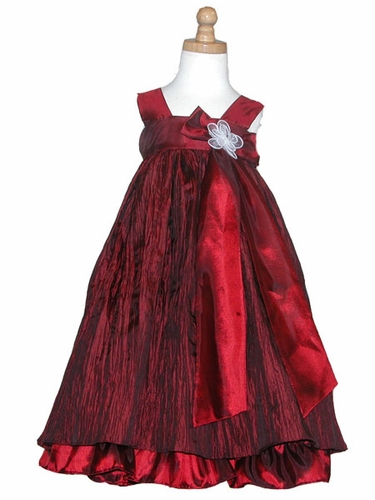 Burgundy Crinkled Taffeta Dress w/ Bow & Flower