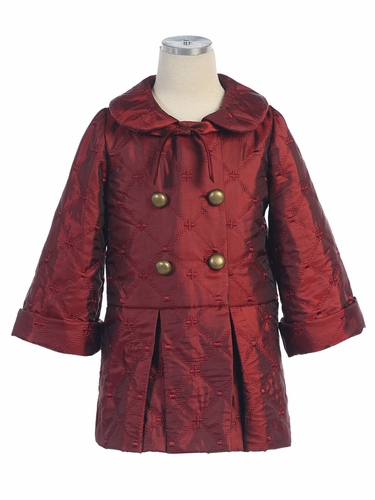Burgundy Embroidered Quilted Coat with Buttons