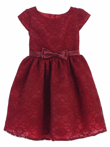 Burgundy Floral Lace w/ Satin Sash & Bow Dress