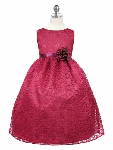 Burgundy Floral Lace Dress
