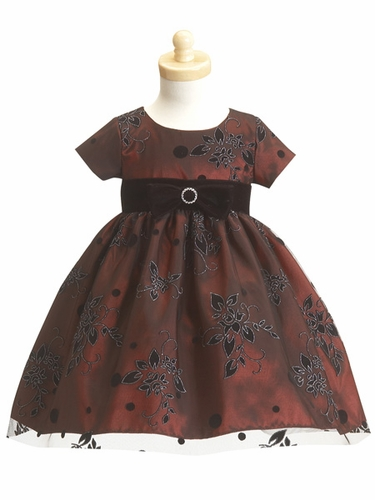Burgundy Flower Girl Dress - Flocked Tulle Dres