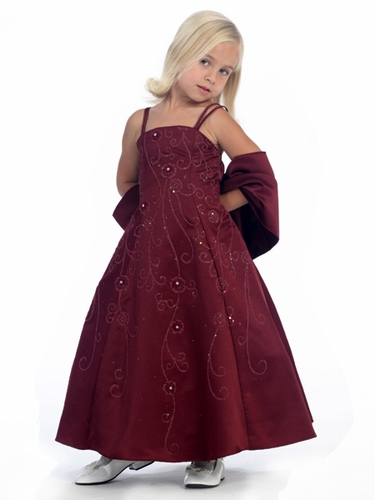 Burgundy Flower Girl Dress - Matte Satin A-Line