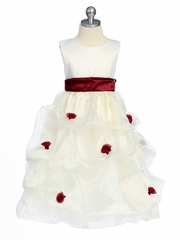 Burgundy Flower Girl Dress - Matte Satin Bodice Gathered Organza