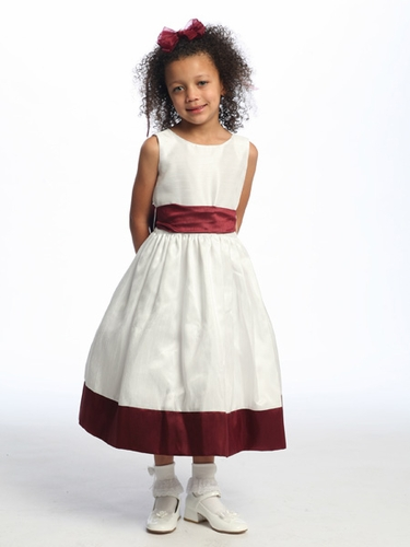 Burgundy Flower Girl Dress - Sleeveless Shantung w/ Sash