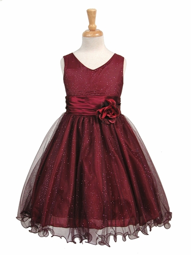 Burgundy Glittered Poly Mesh w/ Matching Charmeuse Waist & Flower