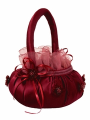 Burgundy Lace Satin Flower Basket