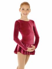 Mondor Burgundy Print Born To Skate Glitter Velvet Dress