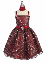 Burgundy Multiple Sequined Dress