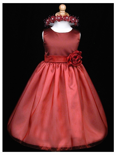 Burgundy Satin Organza Party Dress