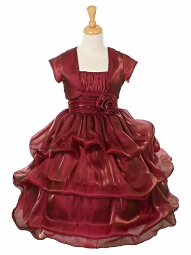 Burgundy Satin Organza Pickup Dress w/ Gathered Top & Bolero