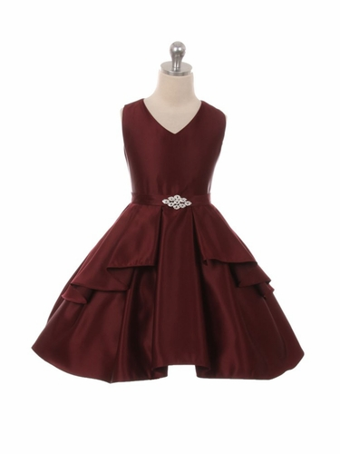 Burgundy Satin Sleeveless V-Neck Dress w/ Ruffles