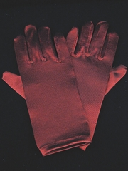 Burgundy Short Satin Gloves