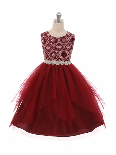 Good Girl 3573 Burgundy Sleeveless Lace Contrast Double Tulle Dress w/ Bejeweled Waist