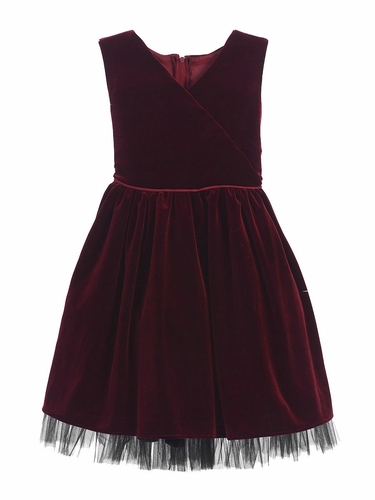 Burgundy Stretch Velvet & Tulle Holiday Dress