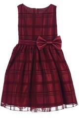 Sweet Kids SK714 Burgundy Flocked Glitter Plaid Mesh Dress