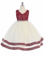 Burgundy V-Neck Lace Detailed Tulle Dress w/ Pearl Waistband
