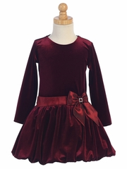 Swea Pea & Lilli Burgundy Velvet Bubble Dress w/ Glitter Trim & Bow