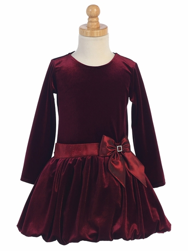 Burgundy Velvet Bubble Dress w/ Glitter Trim & Bow