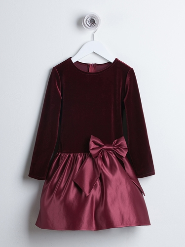 Burgundy Velvet & Satin Drop Waist Dress