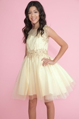 Calla Collection Champagne SY117 Girl's Illusion Sweetheart Neckline Lace Applique Dress