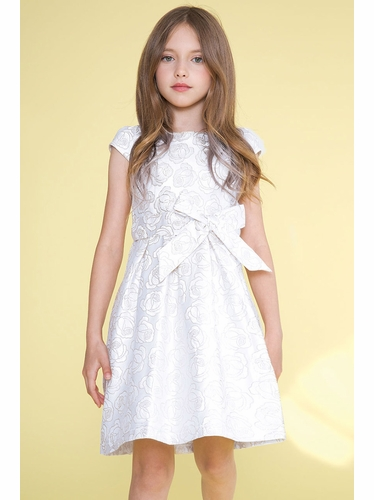 Calla Collection D1100 Silver Woven Rose Dress