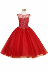 Calla Collection KY201 Red Jeweled Illusion Bodice Tulle Ball Gown
