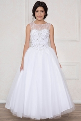 Calla Collection KY201 White Jeweled Illusion Bodice Tulle Ball Gown