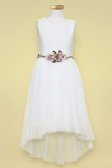 Calla Collection SLD1177 Ivory Lace & Tulle Ballet High Low Dress w/ Floral Belt