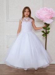 Calla Collection SY118 White Beaded Bodice w/ Halter Neckline & Tulle Skirt