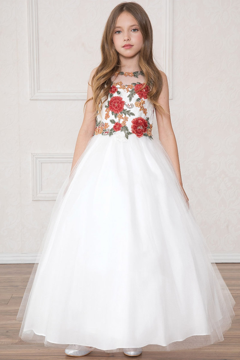 Calla Collection SY125 Off White & Red Floral Patch Tulle Dress
