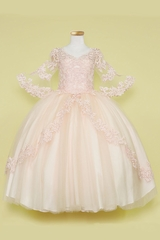 Calla Collection SY127 Blush Pink Lace & Tulle Dress w/ Belle Sleeves