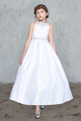 CLEARANCE - Calla D-786 White Satin Dress w/ Stone Neck Line & Waistband