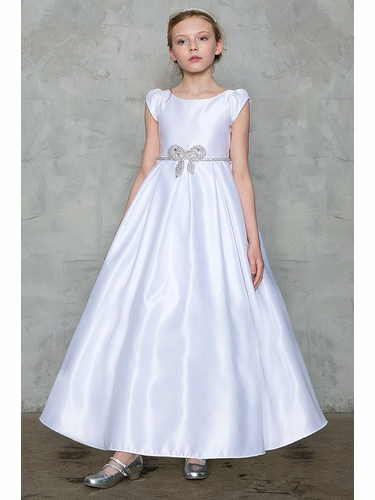 Calla D-787 White Full Length Satin Dress w/ Rhinestone Bow Belt
