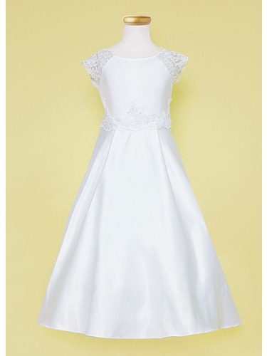 Calla D765 White Satin Full Length Dress w/ Lace Waistband & Sleeve