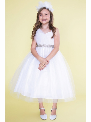 Calla D766 White One Shoulder Tulle Dress w/ Rhinestone Belt & Brooch