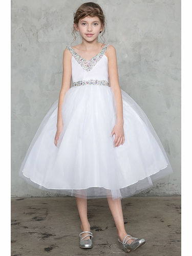 Calla D768 White V-Neck Jeweled Tulle Dress