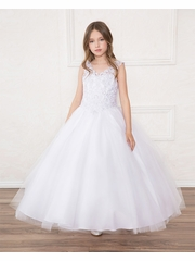 Calla SY119 White V-Neck Lace Glitter Overlay Tulle Dress